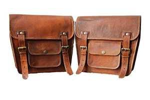 lbh 2x Moto côté étui cuir Marron côté Pochette sacoches de selle sacoches (2sachets) pour moto vélo