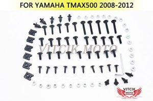 VITCIK Kits de boulons pour moto Yamaha TMAX500 2008 2009 2010 2011 2012 TMAX 500 08 09 10 11 12 attaches aluminium CNC (Noir & Argent)