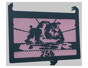 cache radiateur/grille de radiateur 750 GSR design Bulldog noir carbone satiné + grillage anti gravillon rouge
