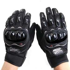 Gants de Moto Plein-Doigt Respirable pour Scooter la Course de Moto, VTT Vélo Motocross, Protection des Autres Sports de Plein Air, avec Écran Tactile pour Téléphone & GPS, M/L/XL/XXL Taille, Noir.