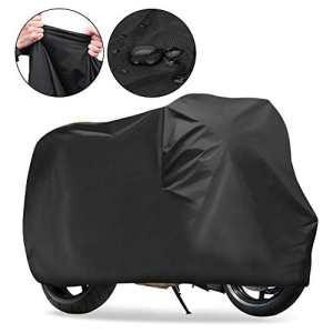 Housse de Protection pour Moto, KOROSTRO Couverture Imperméable en Polyester 190T pour Moto, Scooter protège de la pluie Soleil Poussière Anti-UV – Noir(XL 245*105*125cm)