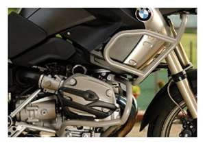 MotorbikeComponents, Kit Tank Protection Tubular and crash Bar en Iron Silver Painted–BMW R 1200GS Adventure 2013