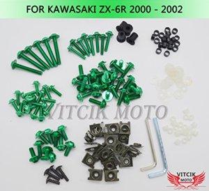 VITCIK Kits de boulons pour moto Kawasaki ZX6R ZX-6R 636 Ninja 2000 2001 2002 00 01 02 attaches aluminium CNC (Vert)