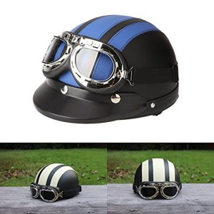 ViZe Casque Bol Demi Ouvert Casque Moto Protection Motocyclette Unisex Avec Visière et Écharpe 54-60cm (Bleu)