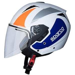 BHR 79401Casque Moto, Blanc/Orange, Taille S