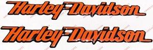 Emblème Logo Decal Harley Davidson, couple autocollants en résine, orange, effet 3d. Pour réservoir ou casque.