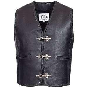 Gaudi-Leathers Veste Homme en Cuir Moto Biker Vest Gilet Crochet Mousqueton et Laçage Latéral M
