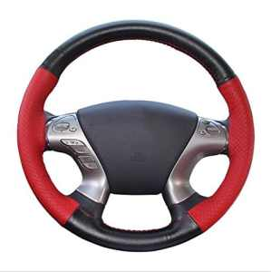 LSQR Couverture Universelle De Volant En Cuir De Couture De 2 Couleurs De Main Pour Le Volant Avec Le Diamètre Extérieur 37Cm ~ 38Cm,Black+Red