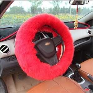 LSQR Volant En Laine Set Automne Hiver Fur One Car Poignée 38Cm,Red