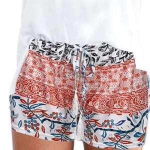 ❤️Shorts Femme, Amlaiworld Femmes Sexy Hot Pants Shorts d'été Bohème Casual Taille élevée Pantalons Courts Shorts (M, Orange)
