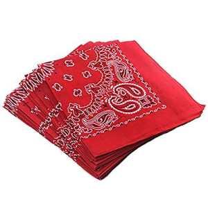 Trebien 12PCS Bandana Foulard Original Paisley Multicolore 100% Coton Bandana Bandannas Fichu Mouchoir Echarpe Cadeau Homme Femme Noël (55cm*55cm) (rouge)