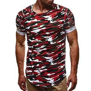 T-shirt Homme, Yesmile Homme Chemise À Manches Courtes Camouflage D'été Soid T-shirt Décontractée T-shirt Top Blouse Occasionnels (M, Rouge)