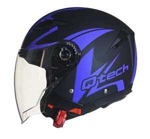 Casque de moto FACE OUVERTE – Pare Soleil Interne – JET Helm – Double Visière Scooter BLEU – M (57-58cm)