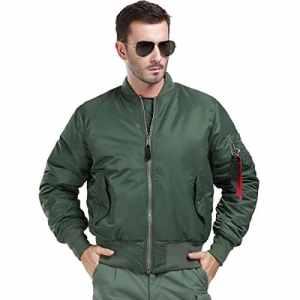 FREE SOLDIER Gratuit Soldat MA1Pilot Veste Tactique Militaire épaissir Réversible Manteau Coupe-Vent Résistant à l'eau Chaude pour Homme S Vert Militaire