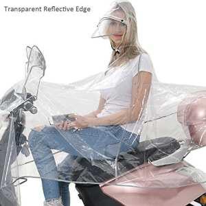 Haute qualité transparente double Hat-brim Extra Large coupe-vent imperméable pour moto scooter pluie Sweat à capuche Manteau imperméable pour homme Big Femme Coque Cape Poncho pluie Protection complète avec bandes réfléchissantes