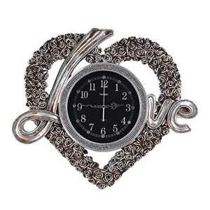 Horloge murale Mute Salon Horloge Murale Décorative LOVE Horloge en forme de coeur Personnalités créatives Horloges murales modernes et horloges décoratives simples (Couleur : Silver)