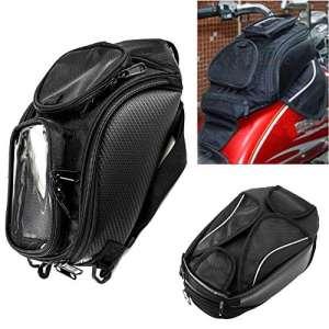 Sacoche de réservoir de moto sacoche magnétique Oxford avec grande fenêtre 48.5 * 37cm Sacoche de siège arrière universelle Sacoche de queue