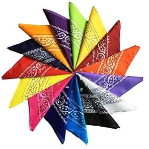 Trebien 12PCS Bandana Foulard Original Paisley Multicolore 100% Coton Bandana Bandannas Fichu Mouchoir Echarpe Cadeau Homme Femme Noël (55cm*55cm) (multicolore)