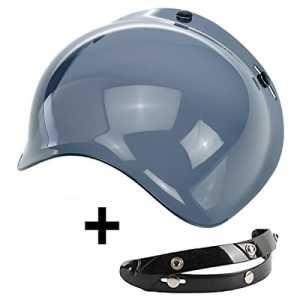 Visière Bubble trois boutons benne fume 30% clair universel pour casque jet compatible avec casques Biltwell Bell DMD Bandit AFX Nolan AGV