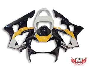 VITCIK (Kits de Carénage fixation Honda CBR900RR 929 2000 2001 CBR900 RR 929 00 01) Moule pour injection de plastique ABS Parties cycle de motos complètes Pièces détachées de Cadres du marché des pièces détachées Accessoires(Noir & Jaune) A010