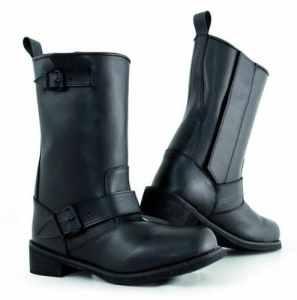 Bottes Cuir Ouverture Zip Moto Chaussures Impermeable Unisexe Custom noir 42
