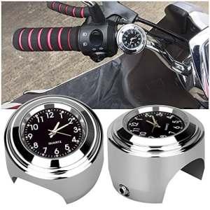 Cargool Horloge de Moto Imperméable Horloge de Guidon de Moto Lumineuse Horloges de Moto Universelle avec Tampon en Caoutchouc et une clé, Facile à Installer, Argent