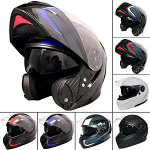 Leopard Leo-888Graphic DVS Flip à l'avant casque de moto casque de moto avec double Pare-soleil (Bleu/gris/noir XXL)