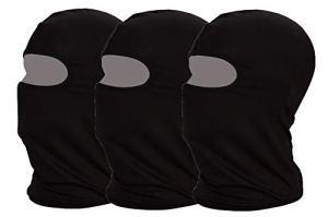 Mayouth Protection UV Cagoule de Cyclisme Masque léger Mince en Lycra Tissu Coupe-Vent Respirant Sports d'extérieur Masque Complet 3-Pack, Black 3-Pack, Moyen