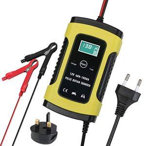 Chargeur de Batterie, URAQT Mainteneur 6Amp 12V Intelligent, Batterie Automatique pour Voitures,Moto, Camping pour Batterie Plombe-Acide Ecran LCD