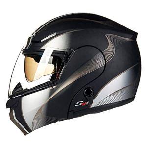 DLD Casque de Moto, Adulte Casque intégral Unisexe Flip Type Casque intégral Lunettes de Protection Double Poids léger Respirant Hommes Femmes DLD-069