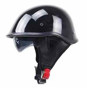 MagiDeal Casque De Moto Brillant Bol Retro Housse De Visage Ouverte Avec Pare-soleil Noir – L