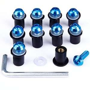 10x Vis M5 Boulons Tête pour Saute-Vent Moto Couleur Bleu