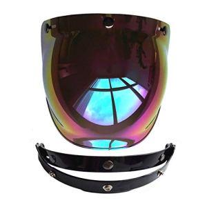 Funnyrunstore Casque de moto Casque Casques de style vintage Casque 3 boutons-pression pour casque de style Harley Visière UV 400 Protections (couleur: arc-en-ciel)