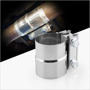 1xTuyau d'échappement collier de serrage d'échappement 57mmx63mm [2.25»x2.5 »] Tube Connecteur Tube acier Clam Joiner Heavy Duty Version