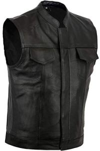 Australian Bikers Gear Veste de Moto en Cuir Noir SOA Sons of Anarchy Style 48 m