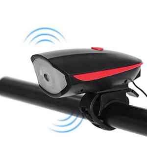 Jasnyfall ABS Étanche USB Charge Bicyclette LED Lampe Vélo Lumière Klaxon Électrique Vélo Phare Guidon Lampe De Poche Vélo Accessoires Rouge