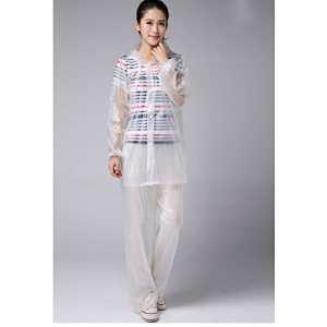 KT Mode Eva Couleur Transparent Haut et Bas Costume imperméable Pluie Pantalon Plastique Poncho Adulte extérieur Costume de Pluie,White