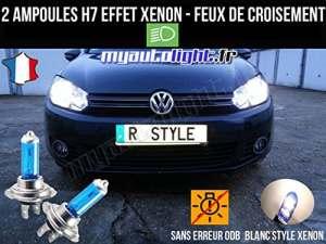 Pack ampoules H7 blanc xenon feux croisement-code pour Volkswagen Golf 6