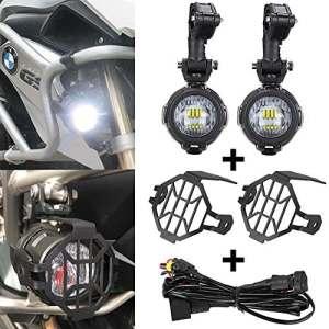 SUPAREE LED Phares Antibrouillard Auxiliaire + Housse de Protection + Harnais de Câblage pour Moto BMW R 1200 GS adv F800 GS F650 LC ADV KTM 1190 1190R 1290