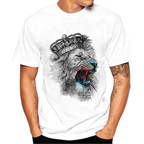 ❤️ T-shirt Homme, Yesmile Hommes Impression T-shirts Chemise à manches courtes T-shirt Blouse (l, blanc)