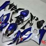 VITCIK (Kits de Carénage fixation Suzuki GSXR1000 K5 2005 2006 GSXR 1000 GSX R1000 K5 05 06) Moule pour injection de plastique ABS Parties cycle de motos complètes Pièces détachées de Cadres du marché des pièces détachées Accessoires(Bleu & Blanc) A101