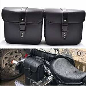 1 Paire Moto Sacoches PU Cavalières en Cuir Imperméable Universel Moto Side Bag Toolkit Noir