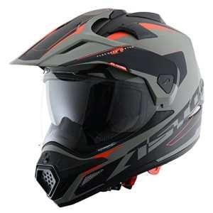 Astone Helmets – CROSS TOURER GRAPHIC ADVENTURE – Casque de motocross homologué en polycarbonate – Casque intégral polyvalent, 3 en 1 enduro route et trail – Matt grey/black