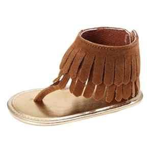 Bébé D'été Chaussures, absolument bébé Semelle souple anti-dérapant bébé Sneakers pour enfant fille Chaussures à semelles souples pour nouveau-né Fleur Sandales, marron, 2