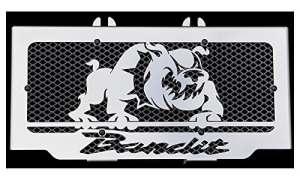 cache radiateur/grille de radiateur Suzuki GSF 600 Bandit 95>04 et 650 Bandit 05>06 design Bulldog + grillage alu
