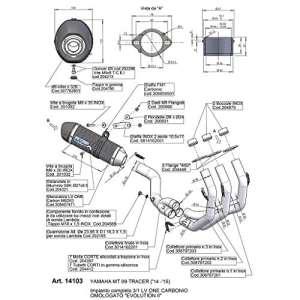 Pot d'échappement leoVince lV one 14103 installation en acier inoxydable-carbone/3–1 pour yamaha mT – 09 sports tracker aBS yamaha mT – 09 tracer rN29 aBS
