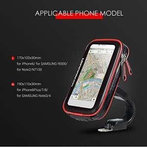 Support Téléphone Moto Scooter Étanche Retroviseur, avec Housse de Protection Transparante Ecran Tactile Rotation à 360° pour Retroviseur Moto Scooter(A:L)
