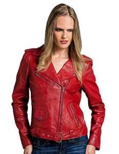 Urban Leather UR-194 Blouson Perfecto rétro pour femme, en cuir nappa d'agneau, rouge