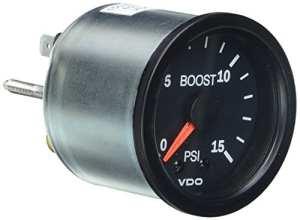 VDO Vision Black 15 PSI Mechanical Boost Gauge – 12V