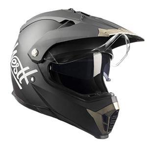 Westt® Cross · Casque de Moto Noir Cross avec Double Visière · ECE Homologué